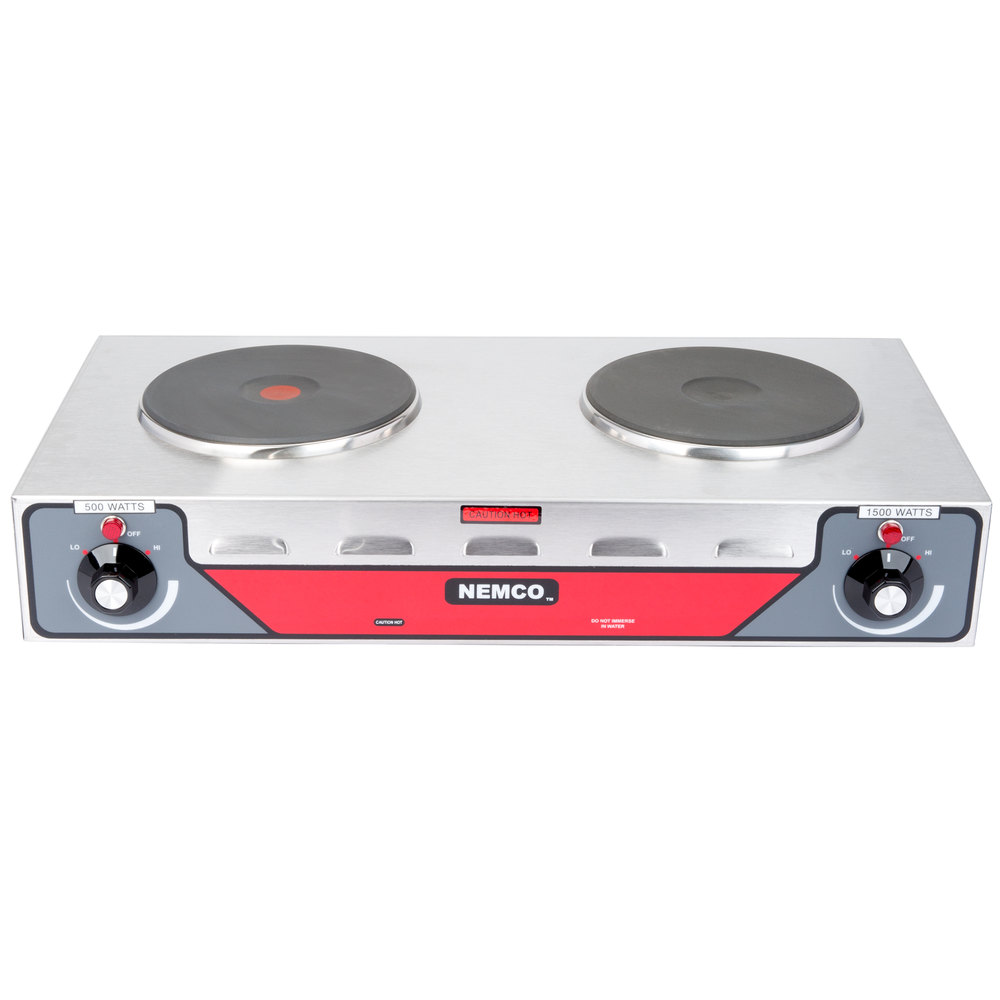Nemco 6310-2 Electric Countertop Horizontal Hot Plate with 2 Solid Burners