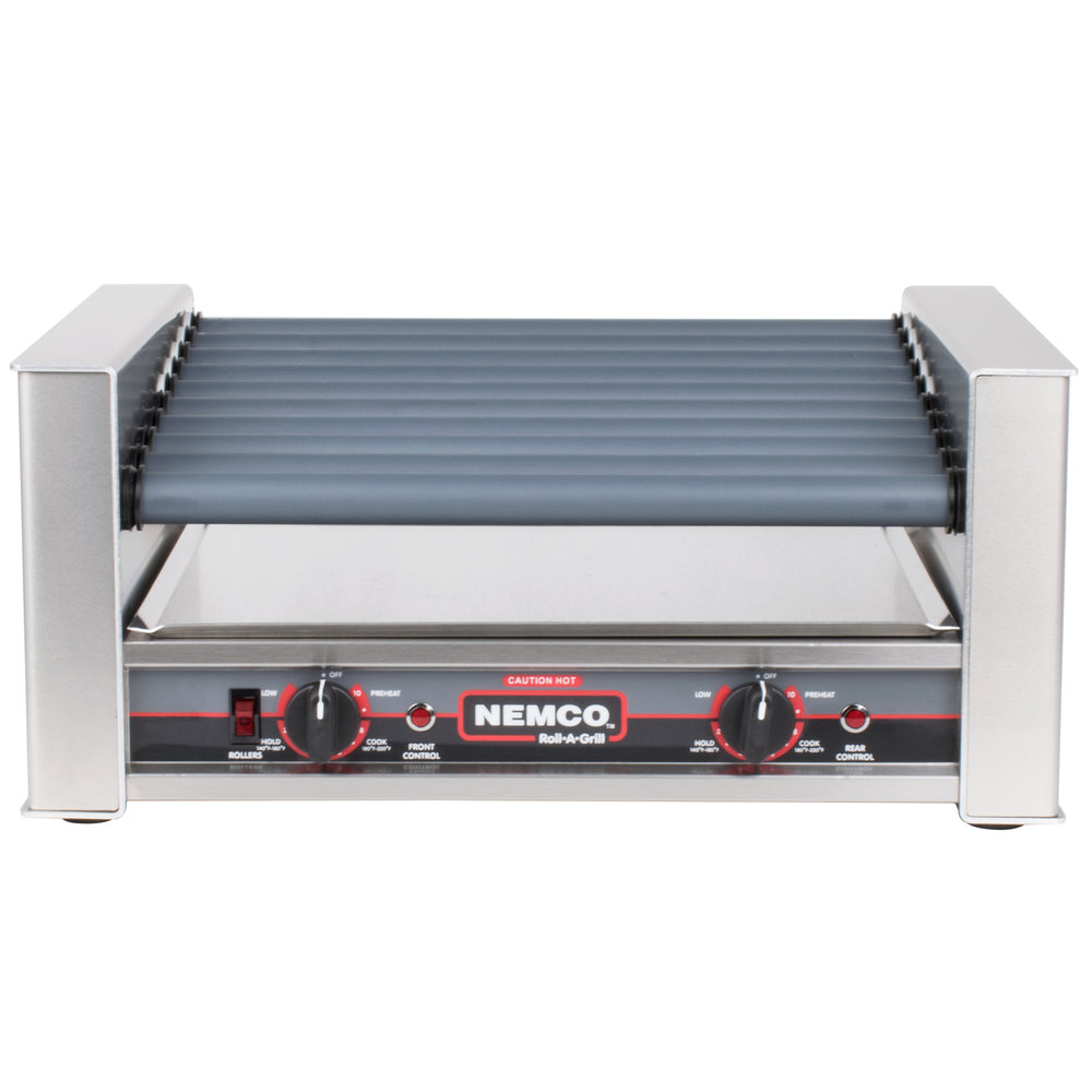 Nemco 8027SX-SLT Slanted Hot Dog Roller Grill with GripsIt Non-Stick Coating - 27 Hot Dog Capacity