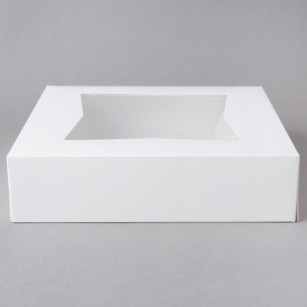 Spec101Easy Popup Pie Boxes with Window Pie Boxes 8x8x2.5 Inch White 15pk