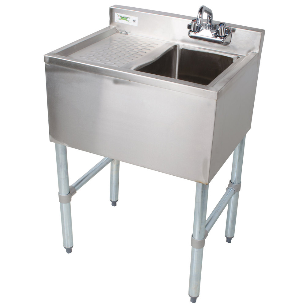 Regency 1 Bowl Underbar Sink With Drainboard And Faucet