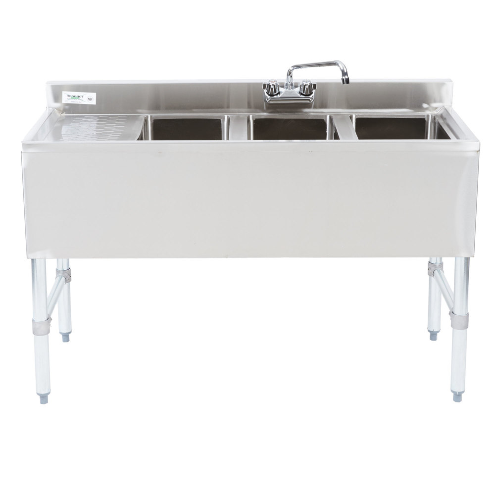 "Regency 3 Bowl Underbar Sink with Drainboard and Faucet - 48"" x 18 3/4"""
