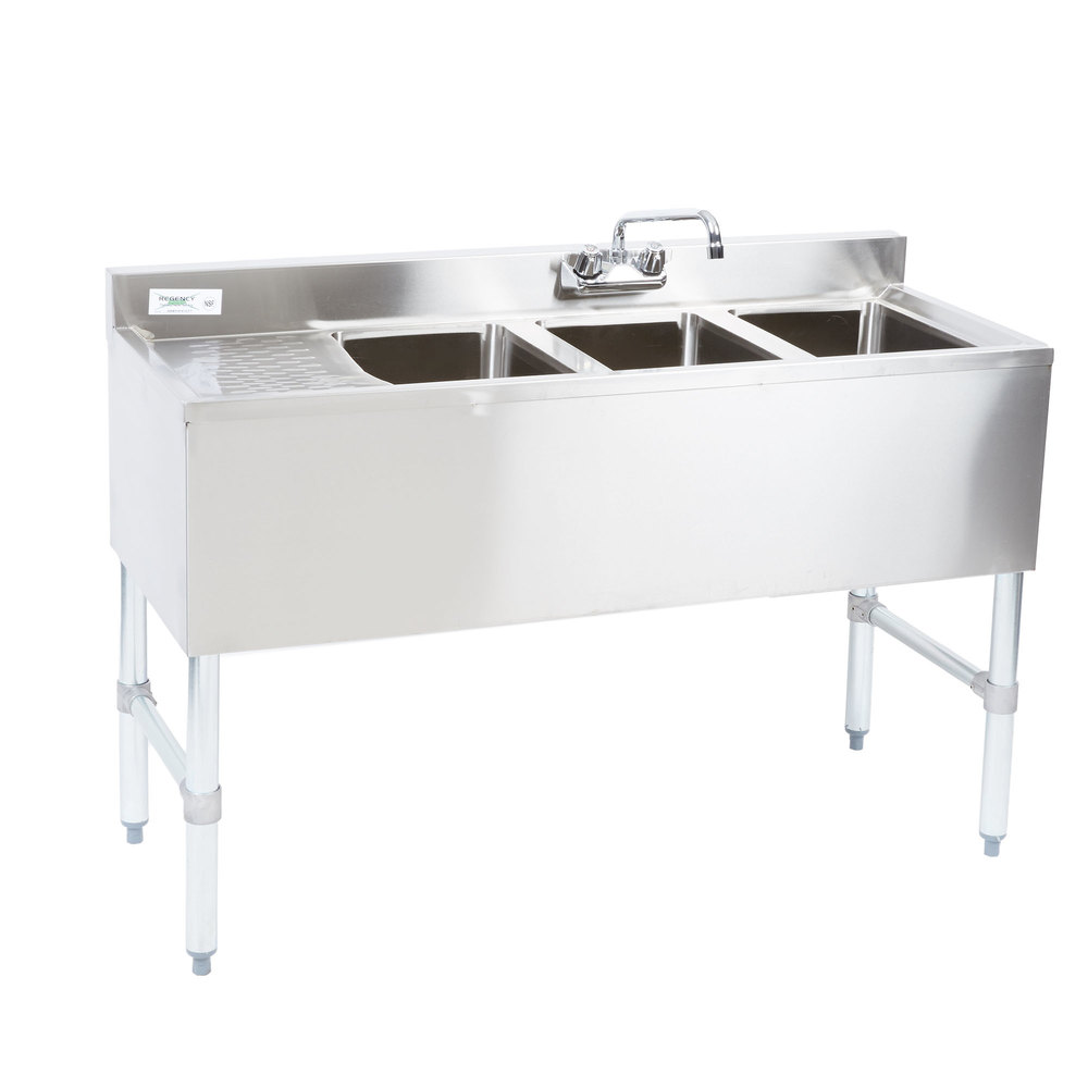 Regency 3 Bowl Underbar Sink with Drainboard and Faucet - 48 inch x 18 3/4 inch - Left Drainboard