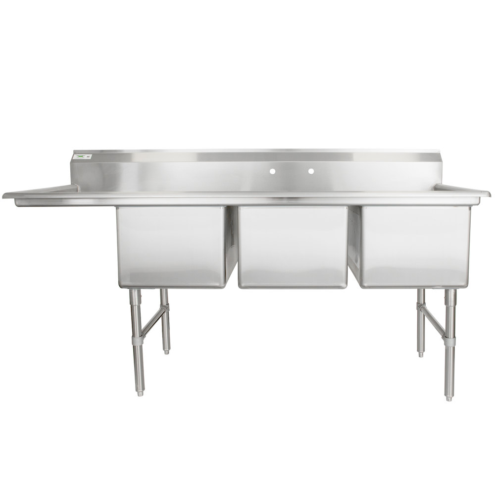 "Regency 78 1/2"" 16-Gauge Stainless Steel Three Compartment Commercial Sink with 1 Drainboard - 18"" x 24"" x 14"" Bowls"
