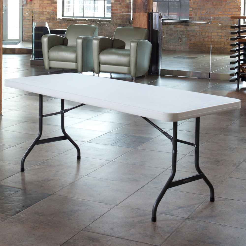 lifetime folding table 30 x 72 plastic white granite 2901. Black Bedroom Furniture Sets. Home Design Ideas
