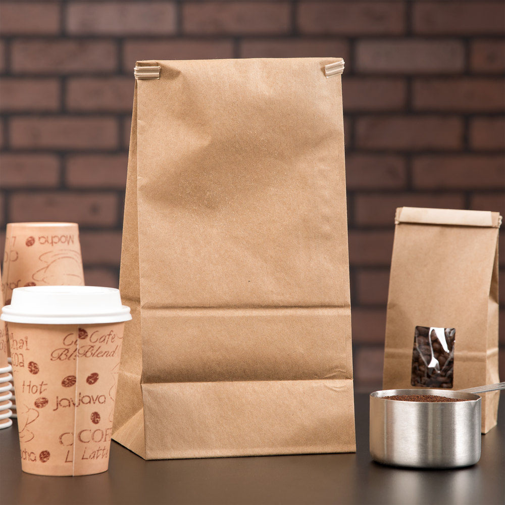 3 lb. Brown Kraft Customizable Paper Coffee Bag with Reclosable Tin Tie - 25/Pack