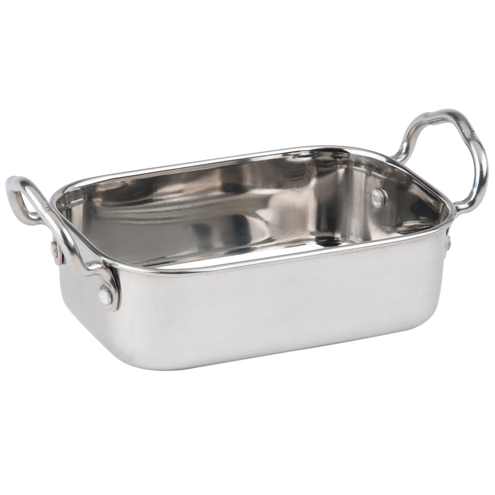 "American Metalcraft MRP53 17 oz. Mini Roasting Pan with Handles - 5 3/4"" x 3 3/4"" x 1 3/4"""