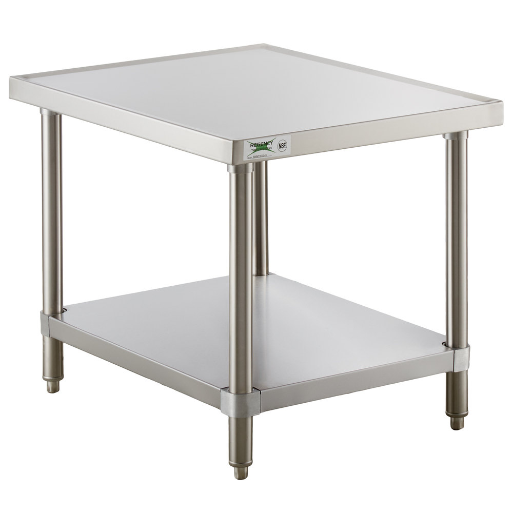 Regency 30 inch x 24 inch 16-Gauge Stainless Steel Mixer Table with Undershelf