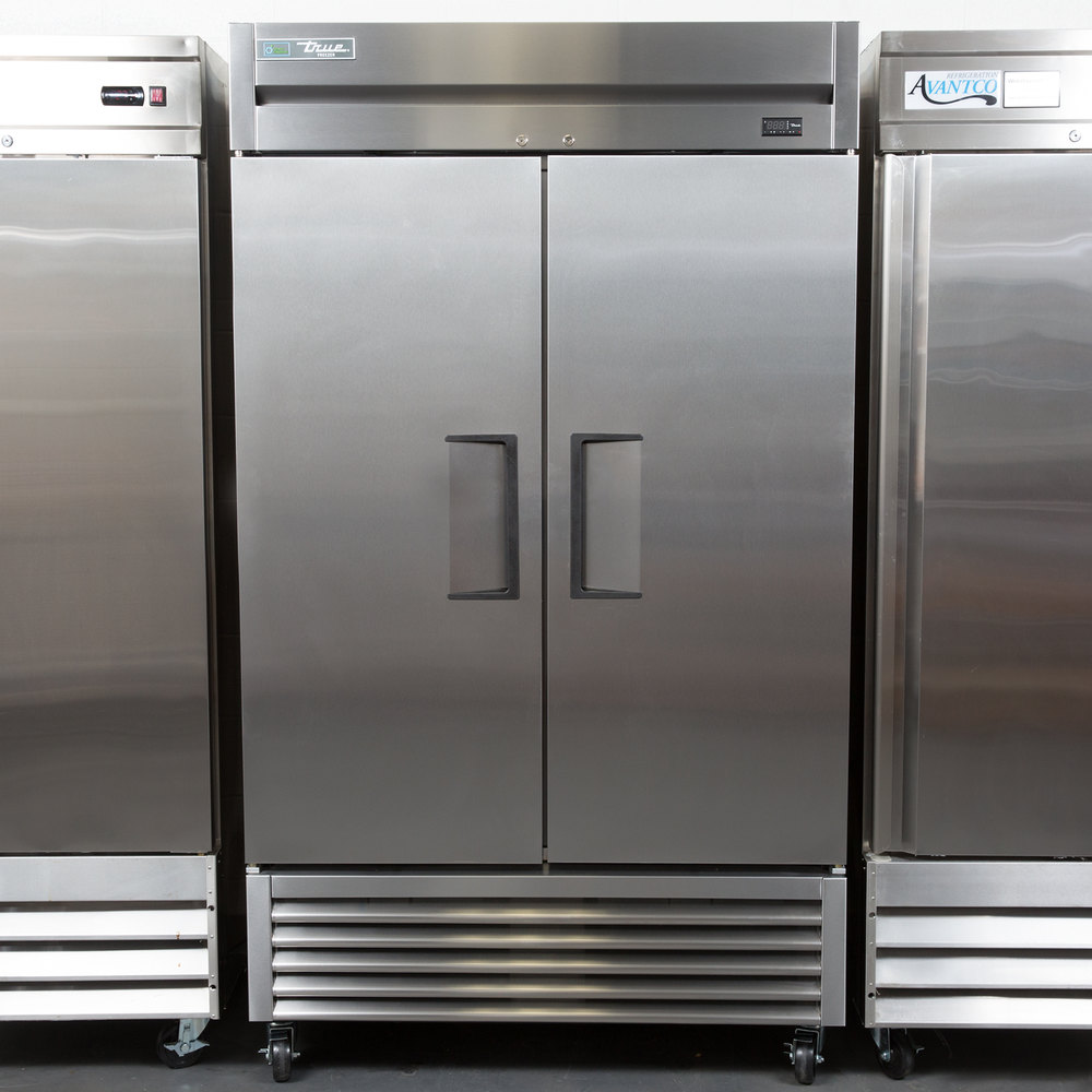 "True TS-43F 47"" Stainless Steel Two Section Solid Door Reach in Freezer - 43 cu. ft."