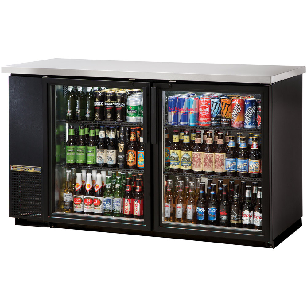 "True TBB-24-60G-LD 61"" Glass Door Back Bar Refrigerator with LED Lighting - 24"" Deep"