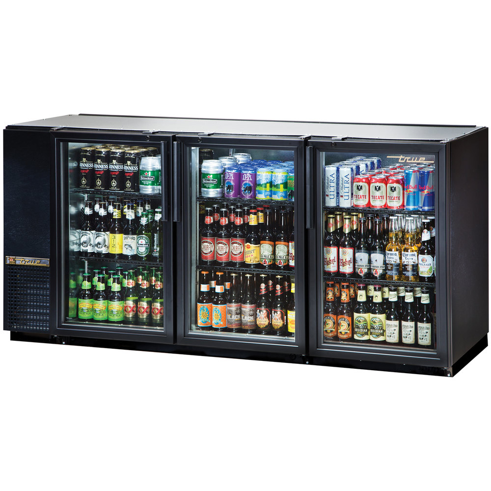 "True TBB-24GAL-72G-LD 72"" Black Narrow Glass Door Back Bar Refrigerator with Galvanized Top and LED Lighting"