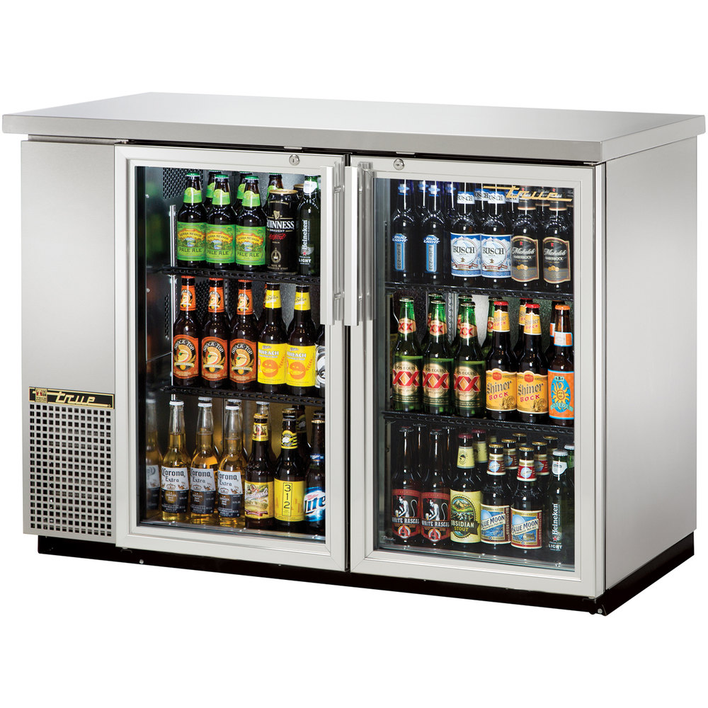 "True TBB-24-48G-S-LD 49"" Stainless Steel Narrow Glass Door Back Bar Refrigerator with LED Lighting"