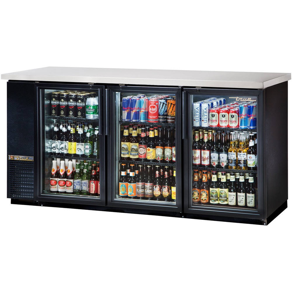 "True TBB-24-72G-LD 73"" Glass Door Back Bar Refrigerator with LED Lighting - 24"" Deep"