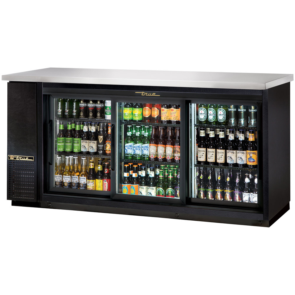 "True TBB-24-72G-SD-LD 73"" Sliding Glass Door Back Bar Refrigerator with LED Lighting - 24"" Depth"