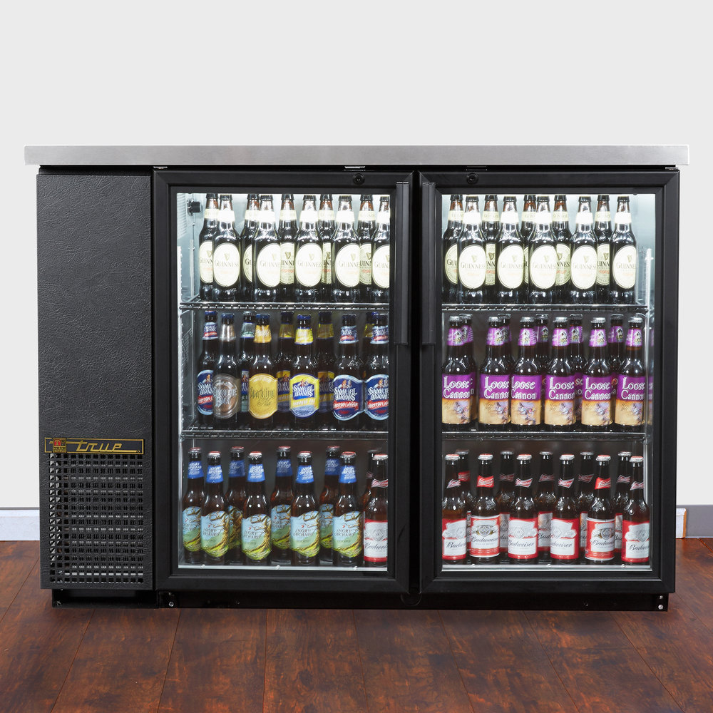 "True TBB-24-48G-LD 49"" Glass Door Back Bar Refrigerator with LED Lighting - 24"" Deep Scratch and Dent"