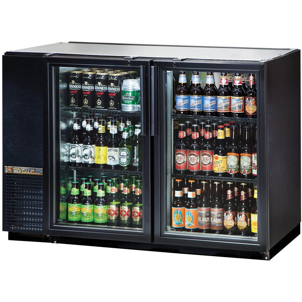 "True TBB-24GAL-48G-LD 48"" Glass Door Back Bar Refrigerator with Galvanized Top and LED Lighting - 24"" Deep"