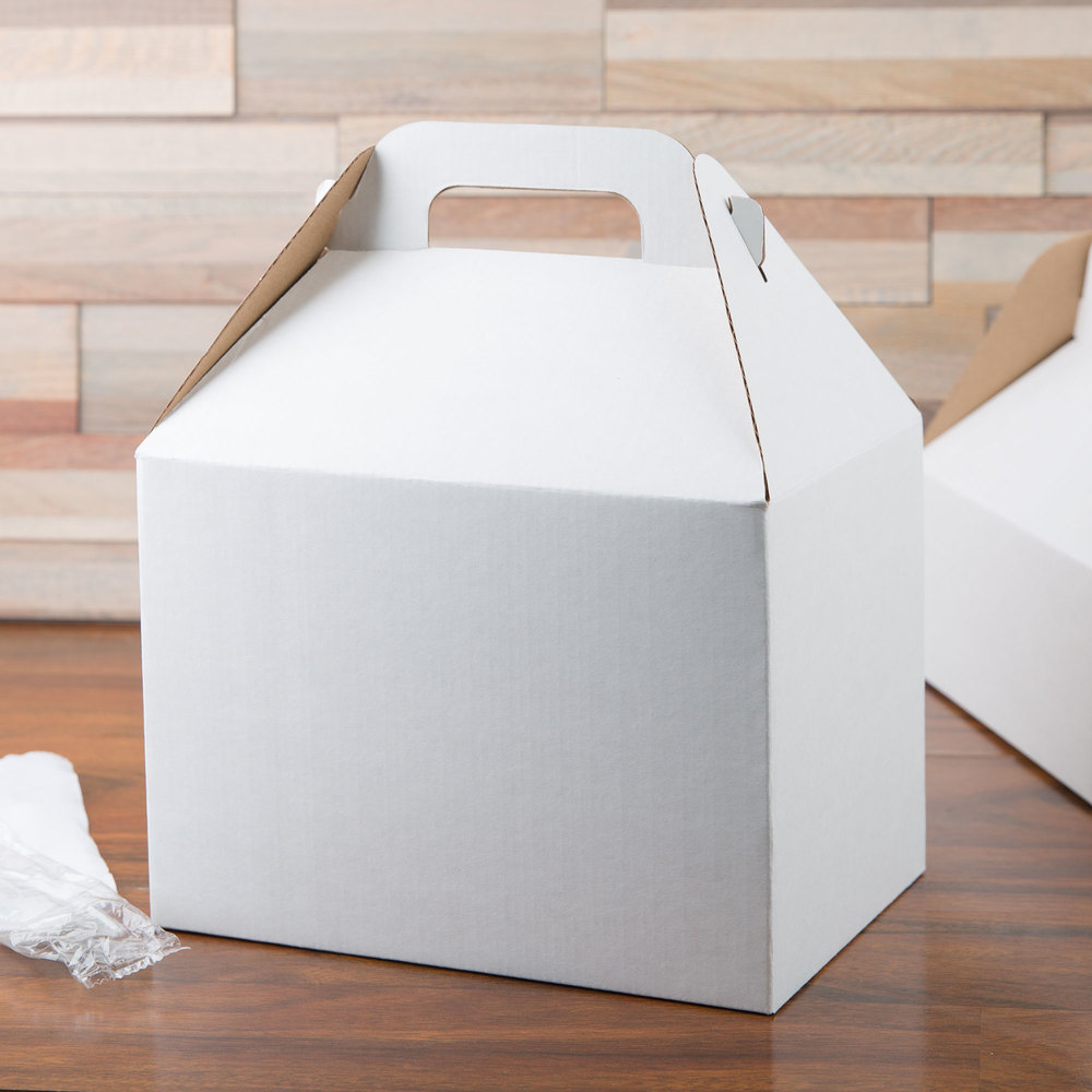 "LBP 9549 9 3/8"" x 6 1/2"" x 6 3/4"" White Barn Take Out Box with Handle - 50/Case"