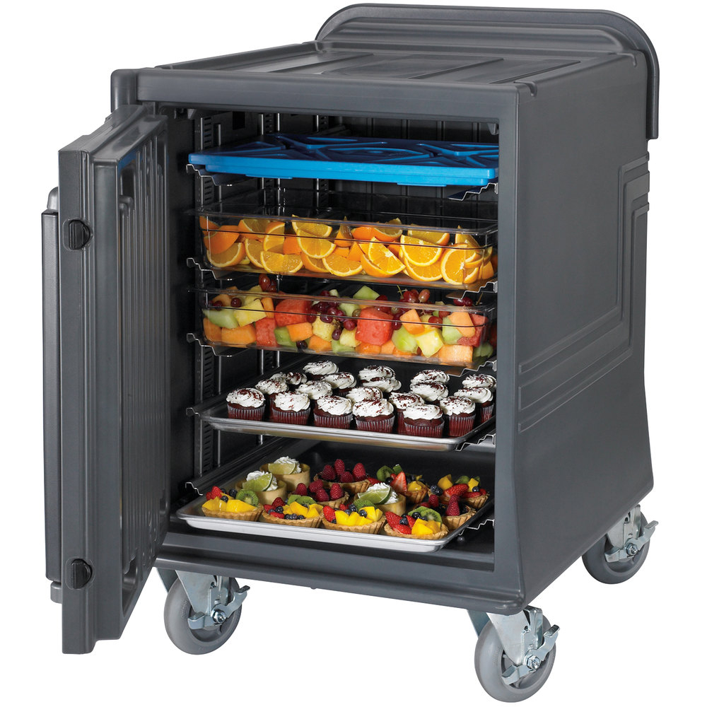 Cambro CMBPLHD Charcoal Gray Non-Electric Combo Cart Plus with Heavy Duty Casters Low Profile