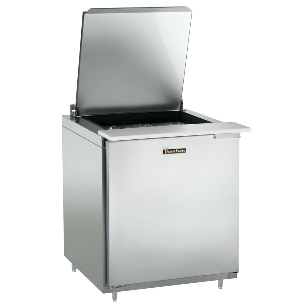 "Traulsen UST279-L-SB 27"" 1 Left Hinged Door Stainless Steel Back Refrigerated Sandwich Prep Table"