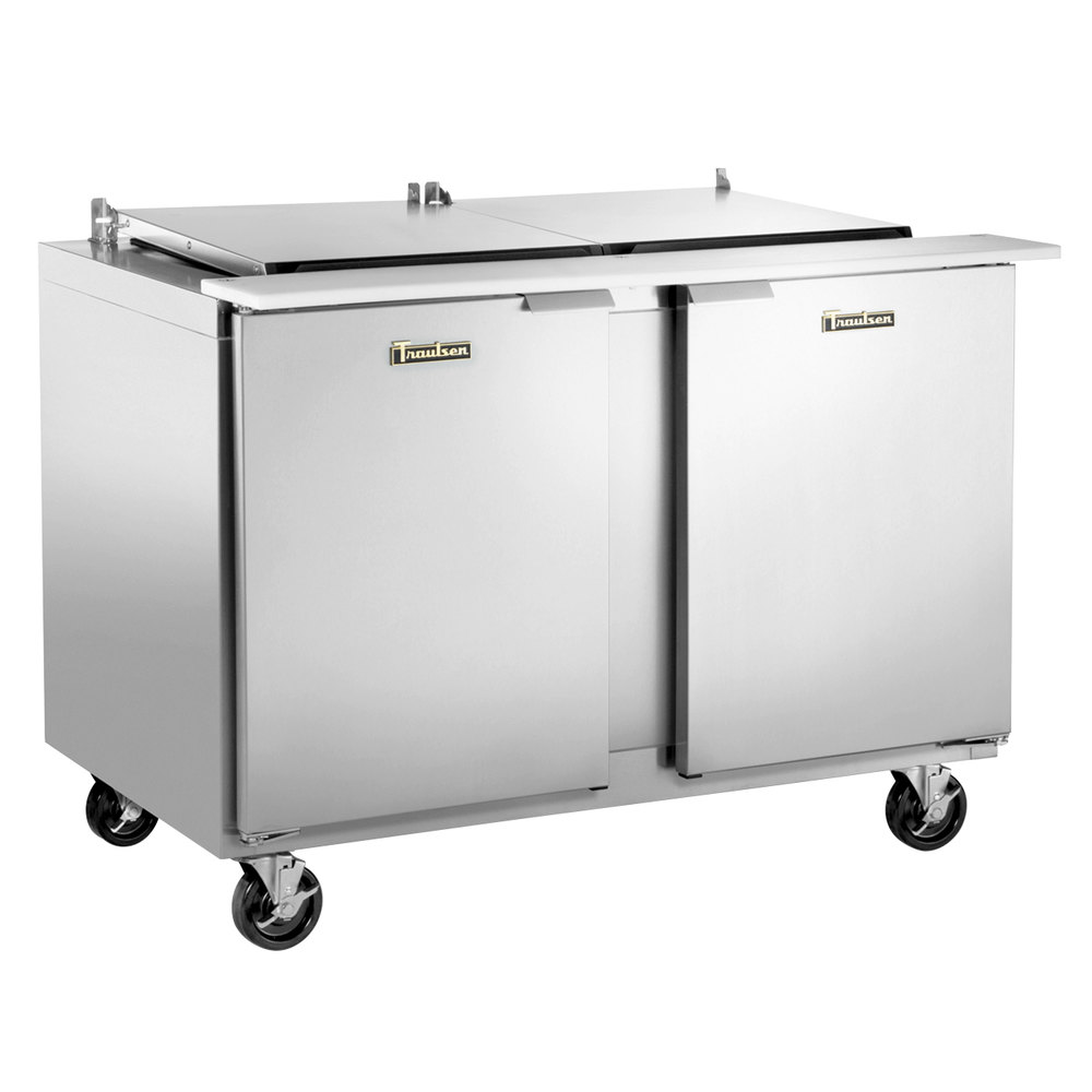 "Traulsen UST488-RR-SB 48"" Sandwich / Salad Prep Table with Right / Right Hinged Doors and Stainless Steel Back"