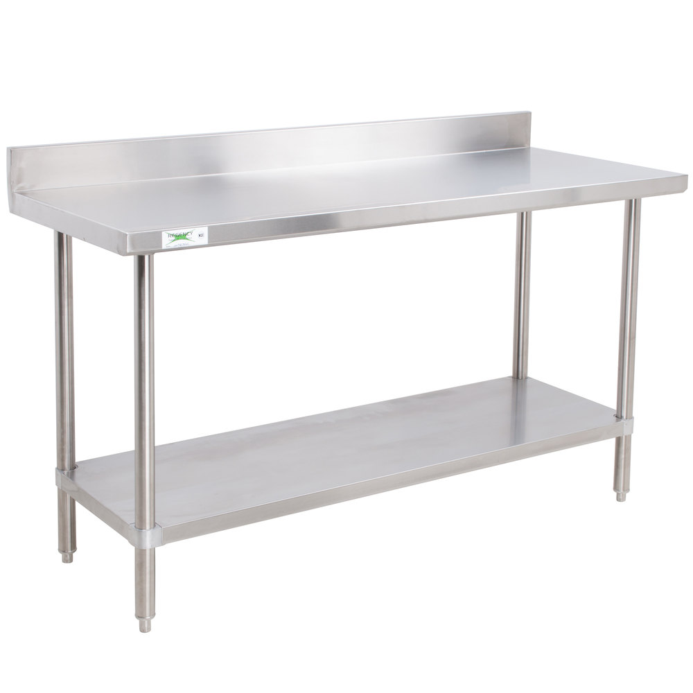 Regency 30 x 60 16 gauge stainless steel commercial work table with 4 backsplash and undershelf - Stainless kitchen tables ...