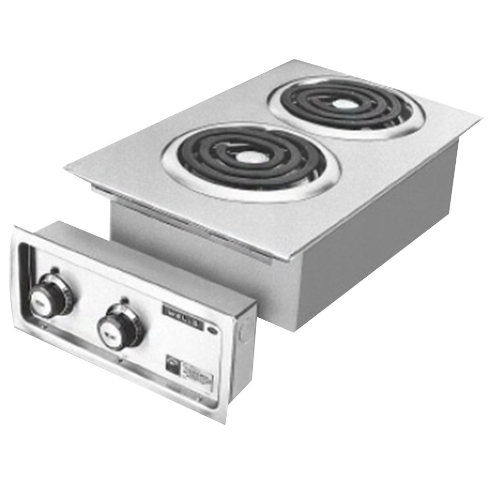 "Wells H-636 Drop-In 14 3/4"" Electric Countertop Two Burner Hot Plate - 5200W"