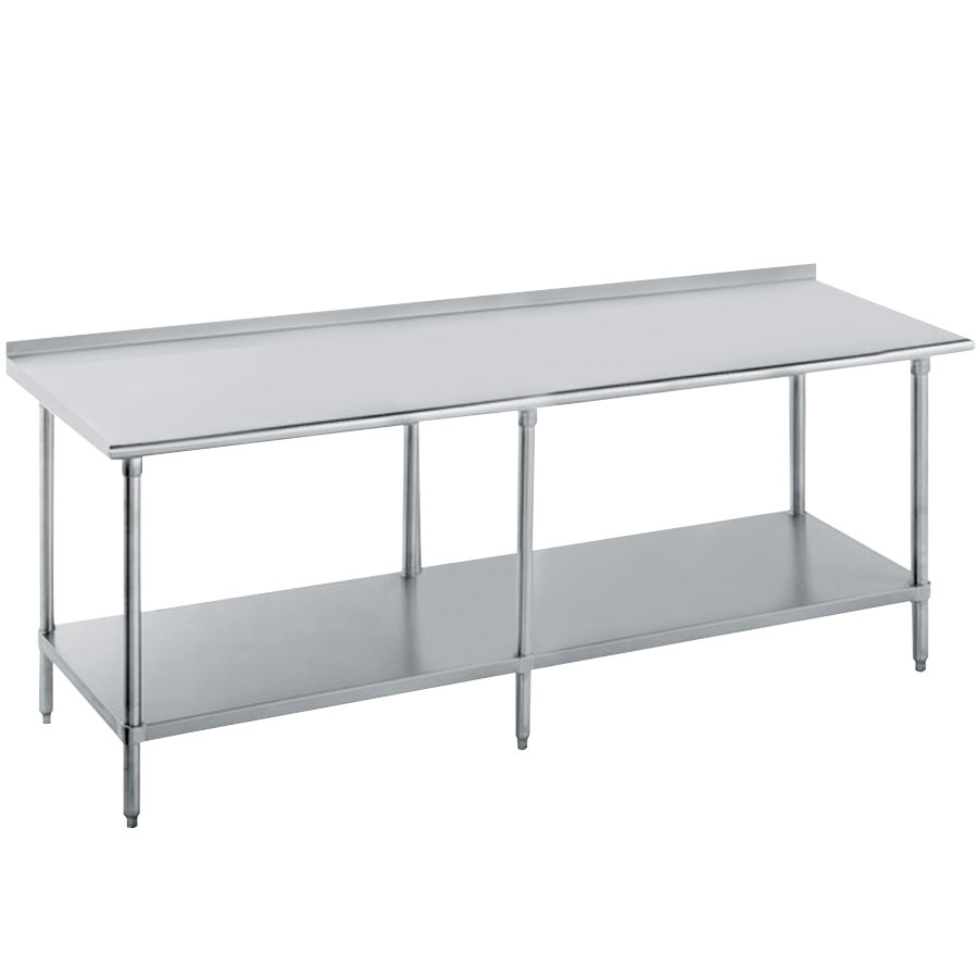 "Advance Tabco FLAG-308-X 30"" x 96"" 16 Gauge Stainless Steel Work Table with 1 1/2"" Backsplash and Galvanized Undershelf"