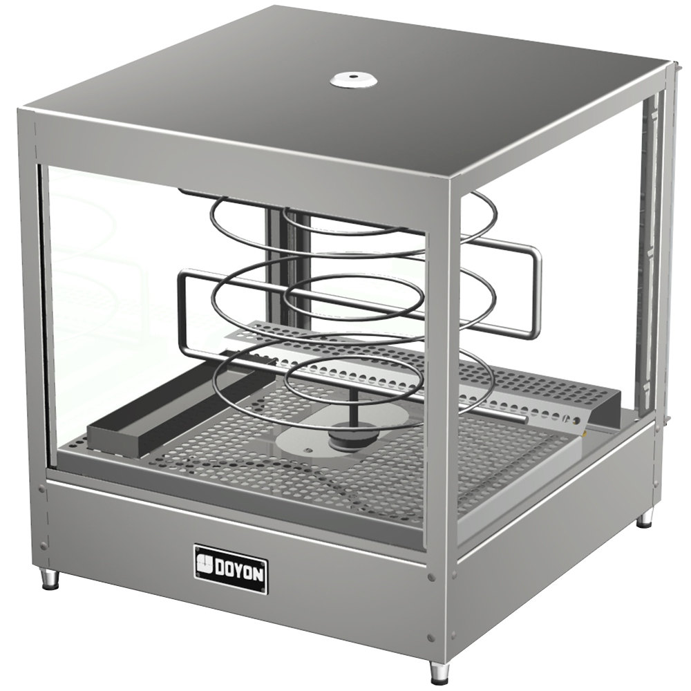 "Doyon DRPR3 20 1/8"" Countertop Pizza Merchandiser / Warmer with Three Tiered 18"" Rotating Circle Rack - 120V"