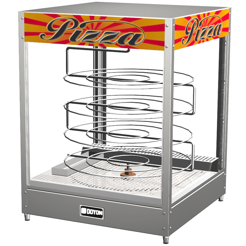 "Doyon DRPR4S 22 3/8"" Countertop Pizza Merchandiser / Warmer with Four Tiered 20"" Rotating Circle Rack - 120V"