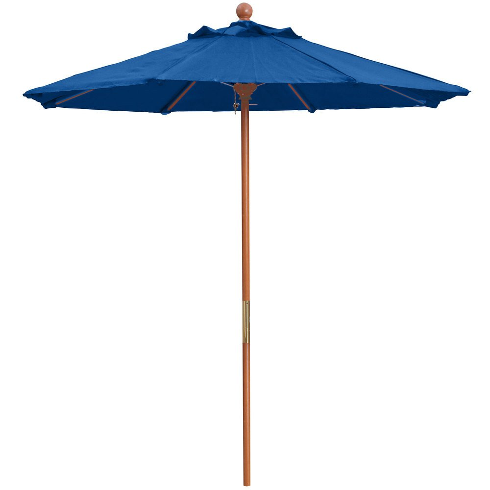 "Grosfillex 98949731 7' Pacific Blue Market Umbrella with 1 1/2"" Wooden Pole"