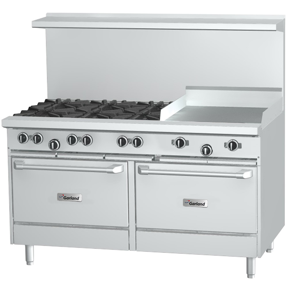 "Garland G60-8G12CC Natural Gas 8 Burner 60"" Range with 12"" Griddle and 2 Convection Ovens - 358,000 BTU"