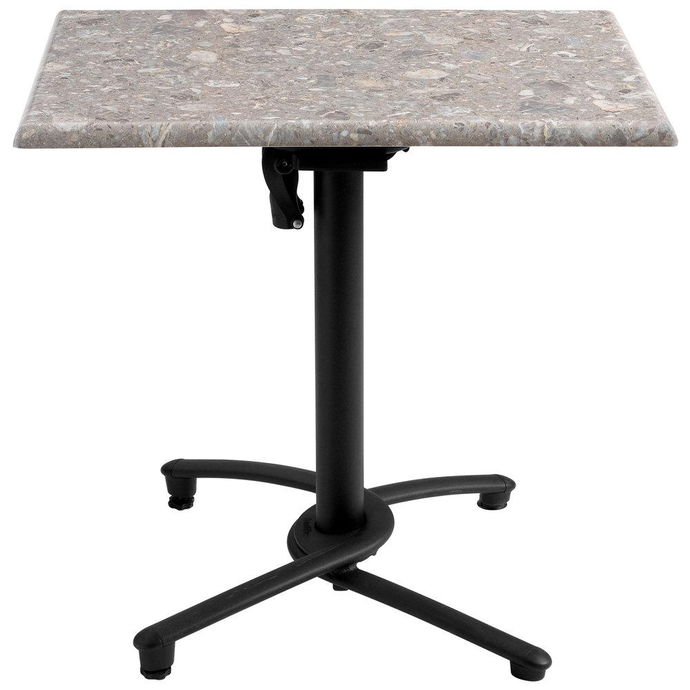 Grosfillex us809117 black aluminum tilt top outdoor table base for Table exterieur grosfillex