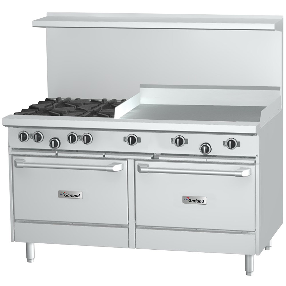 "Garland G48-4G24CS 4 Burner 48"" Gas Range with 24"" Griddle, Convection Oven, and Storage Base - 206,000 BTU"