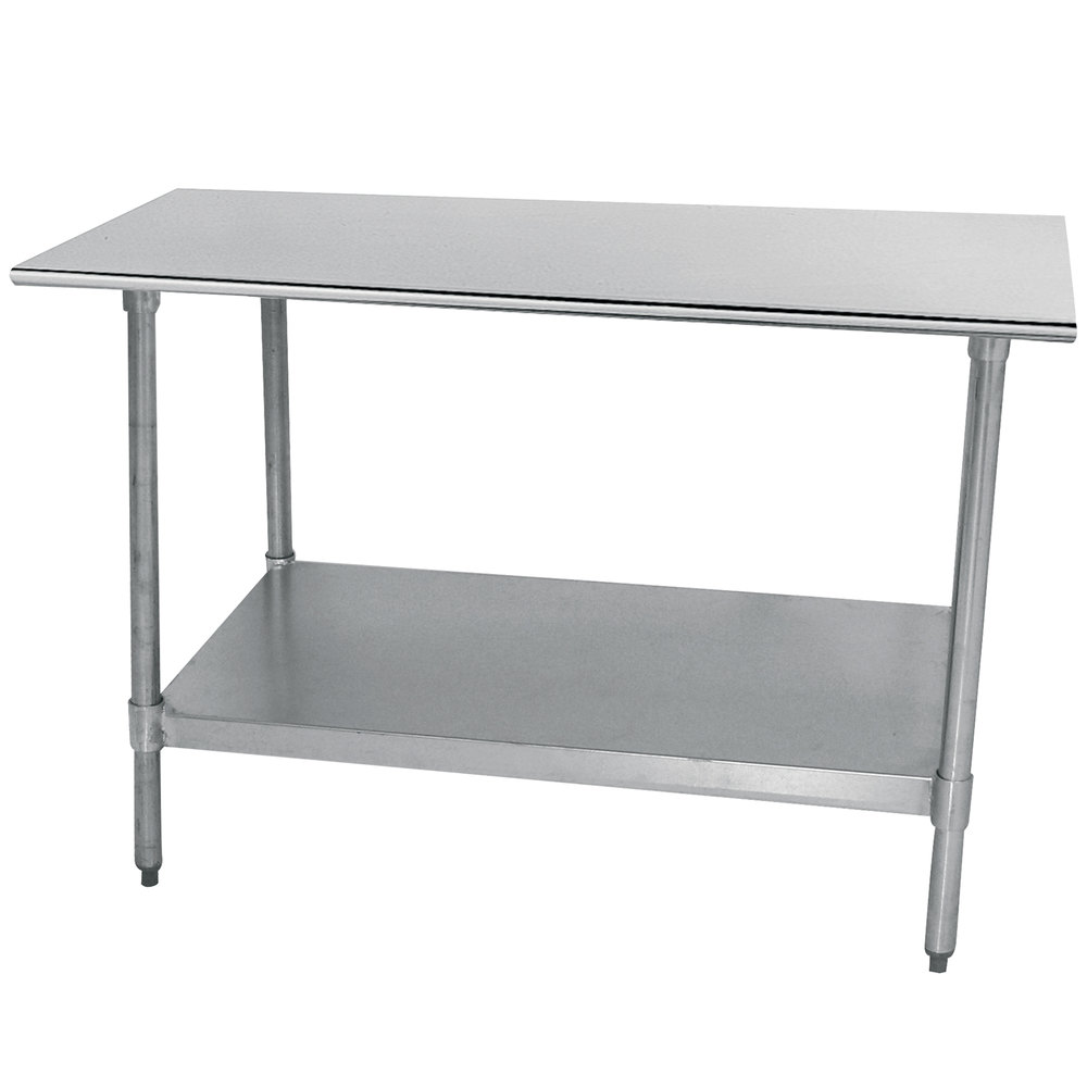 "Advance Tabco TT-304-X 30"" x 48"" 18 Gauge Stainless Steel Work Table with Galvanized Undershelf"