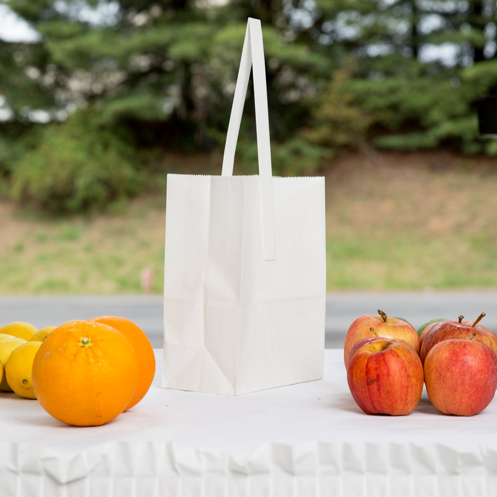 "1/4 Peck ""Freshman"" White Kraft Paper Produce Customizable Market Stand Bag with Handle - 500/Case"