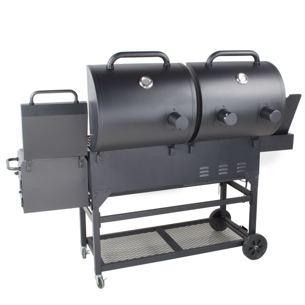 backyard pro portable outdoor gas and charcoal grill smoker