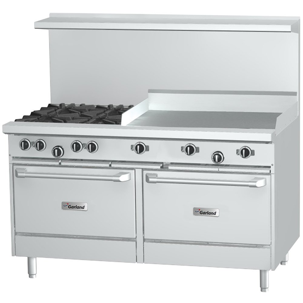 "Garland G60-4G36CS 4 Burner 60"" Gas Range with 36"" Griddle, Convection Oven, and Storage Base - 224,000 BTU"