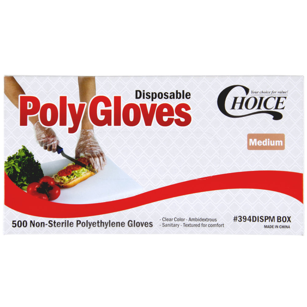 Choice Disposable Poly Gloves - Medium for Food Service