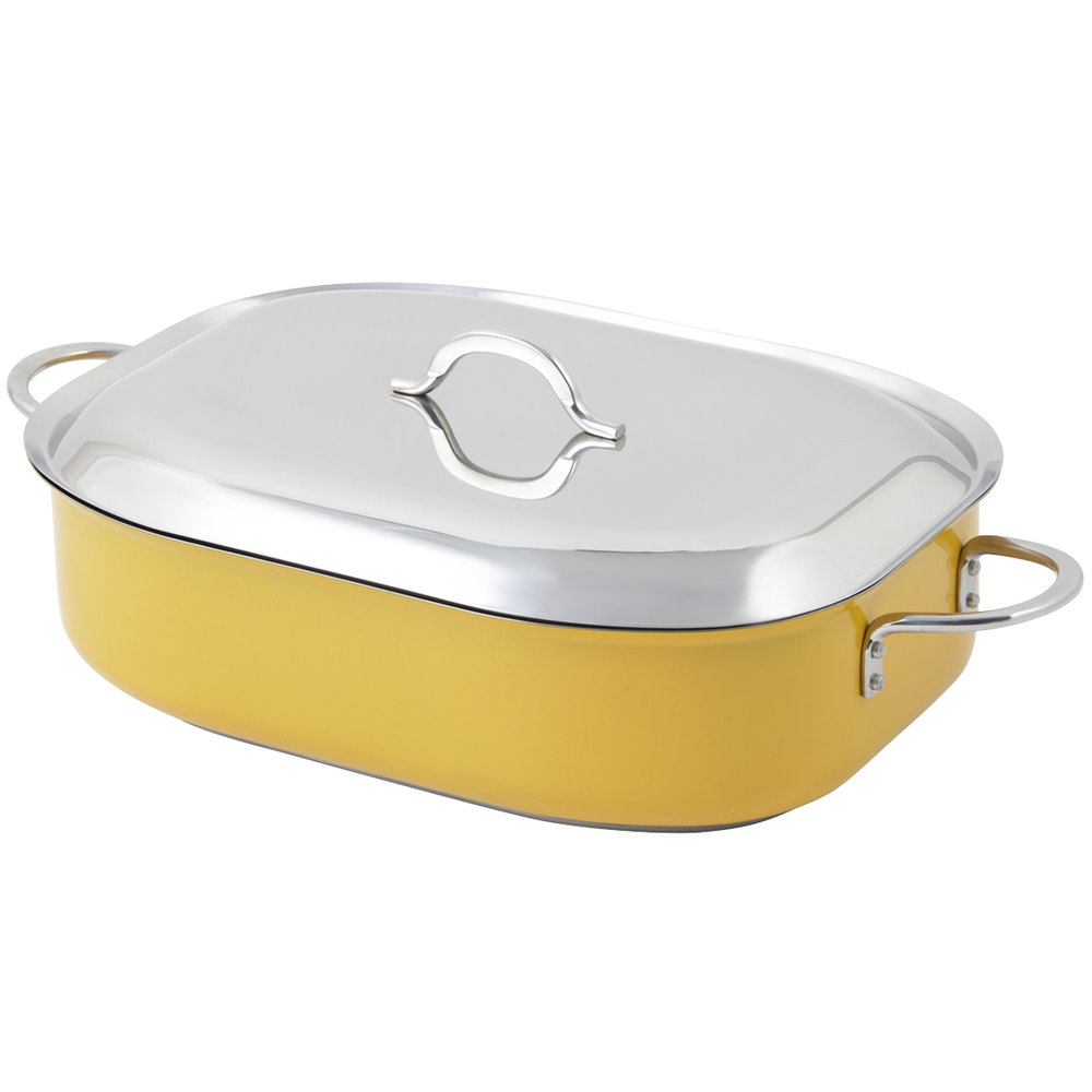 "Bon Chef 60004CFCLD Cucina Classic Country French 7 Qt. Yellow French Oven with Lid, Handles, and Induction Bottom - 15"" x 11"" x 4"""