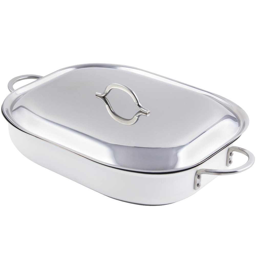 "Bon Chef 60023CFCLD Cucina Classic Country French 5 Qt. White Oblong Pan with Lid, Handles, and Induction Bottom - 15"" x 11"" x 2 7/8"""