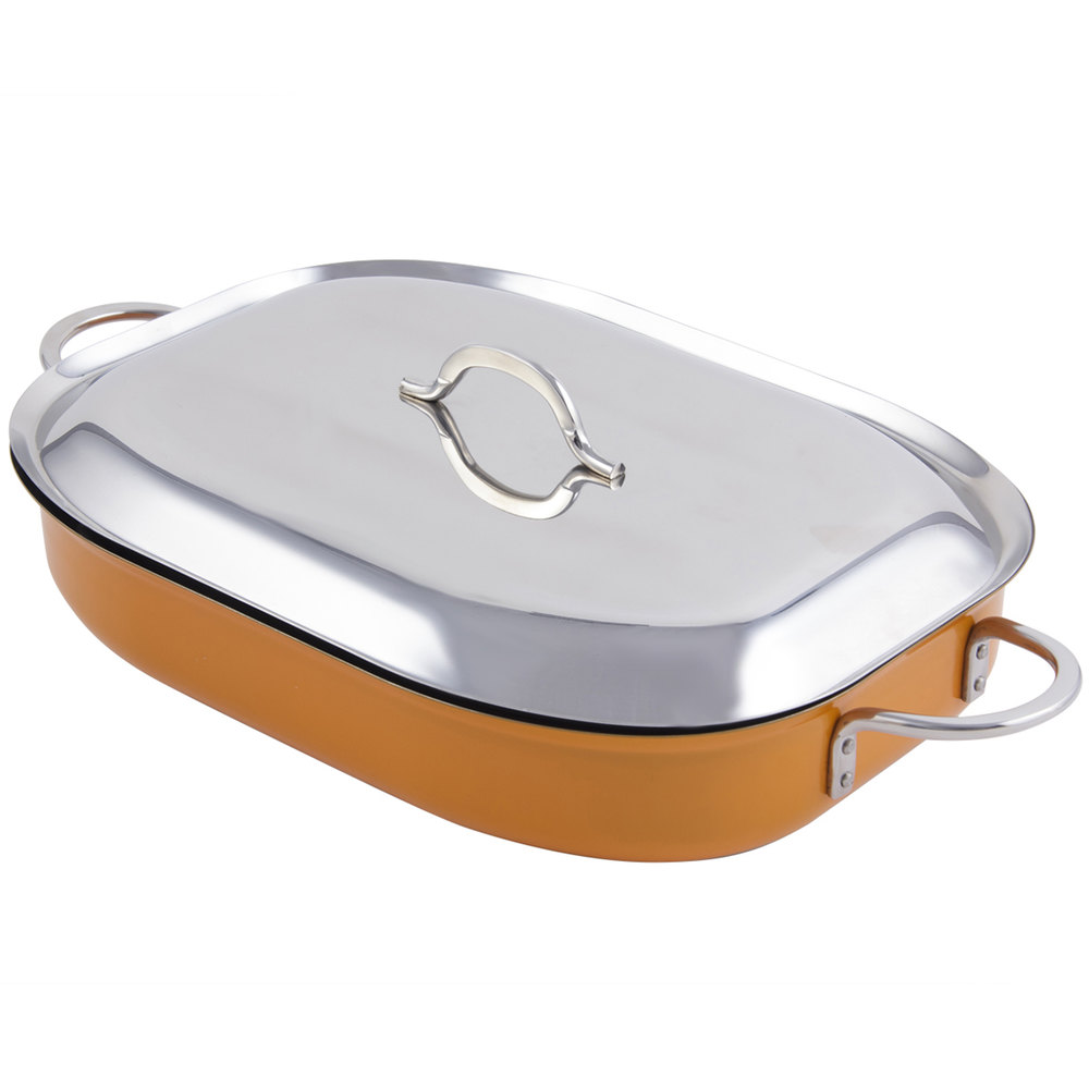"Bon Chef 60023CFCLD Cucina Classic Country French 5 Qt. Orange Oblong Pan with Lid, Handles, and Induction Bottom - 15"" x 11"" x 2 7/8"""