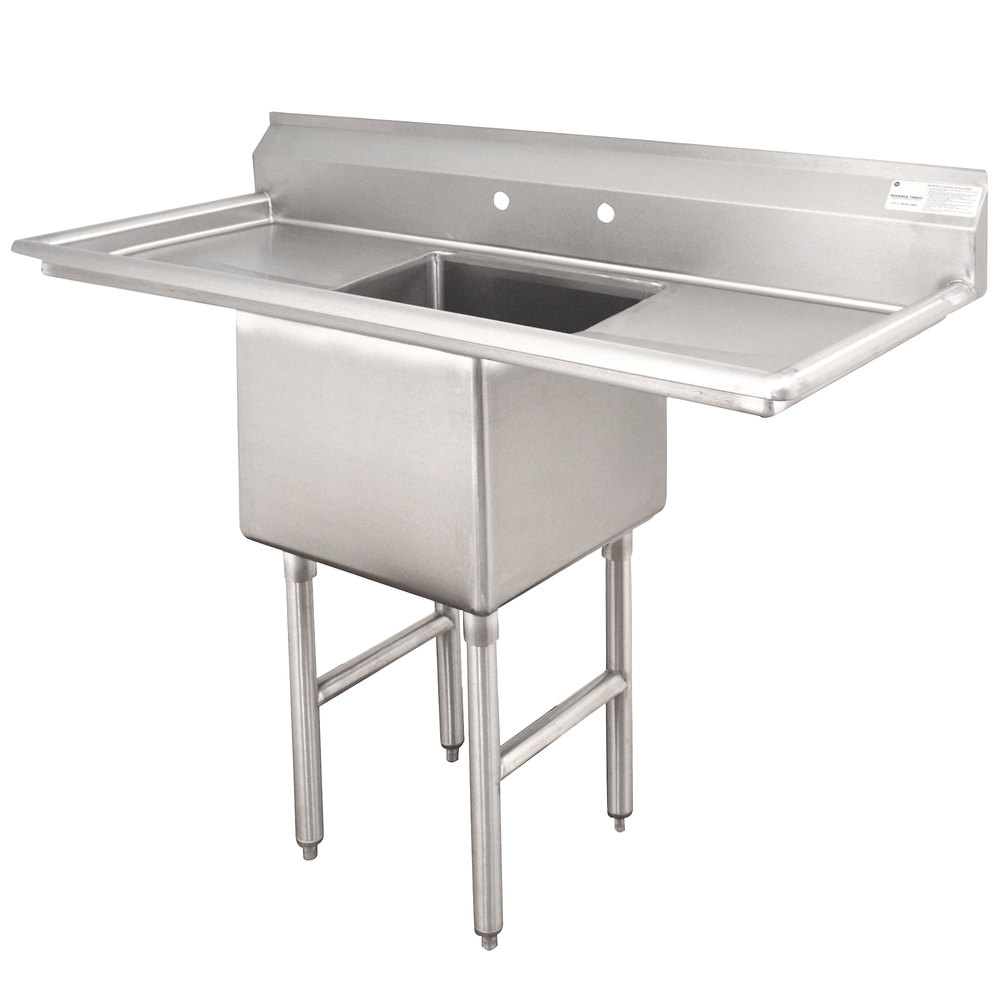 ... Compartment Stainless Steel Commercial Sink with Two Drainboards - 54