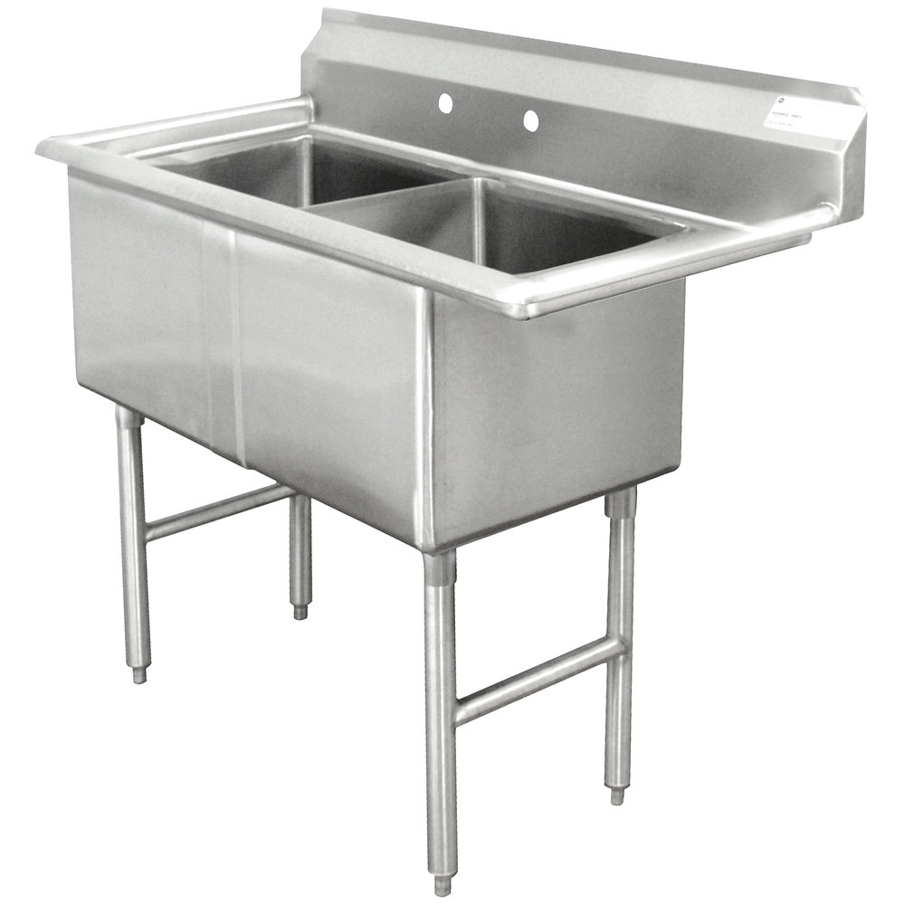 Advance Tabco FC-2-1824 Two Compartment Stainless Steel Commercial Sink - 41""