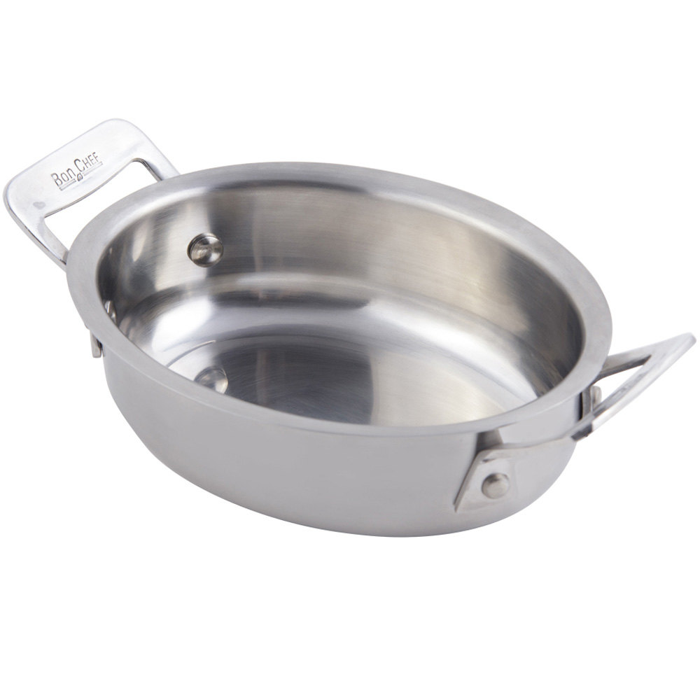 Bon Chef 60028 Cucina 24 oz. Stainless Steel Oval Dish