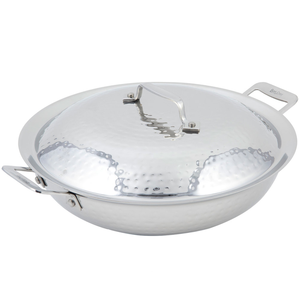 "Bon Chef 60015HF Cucina 12"" Hammered Finish Stainless Steel Chef's Pan with Lid and 2 Side Handles"