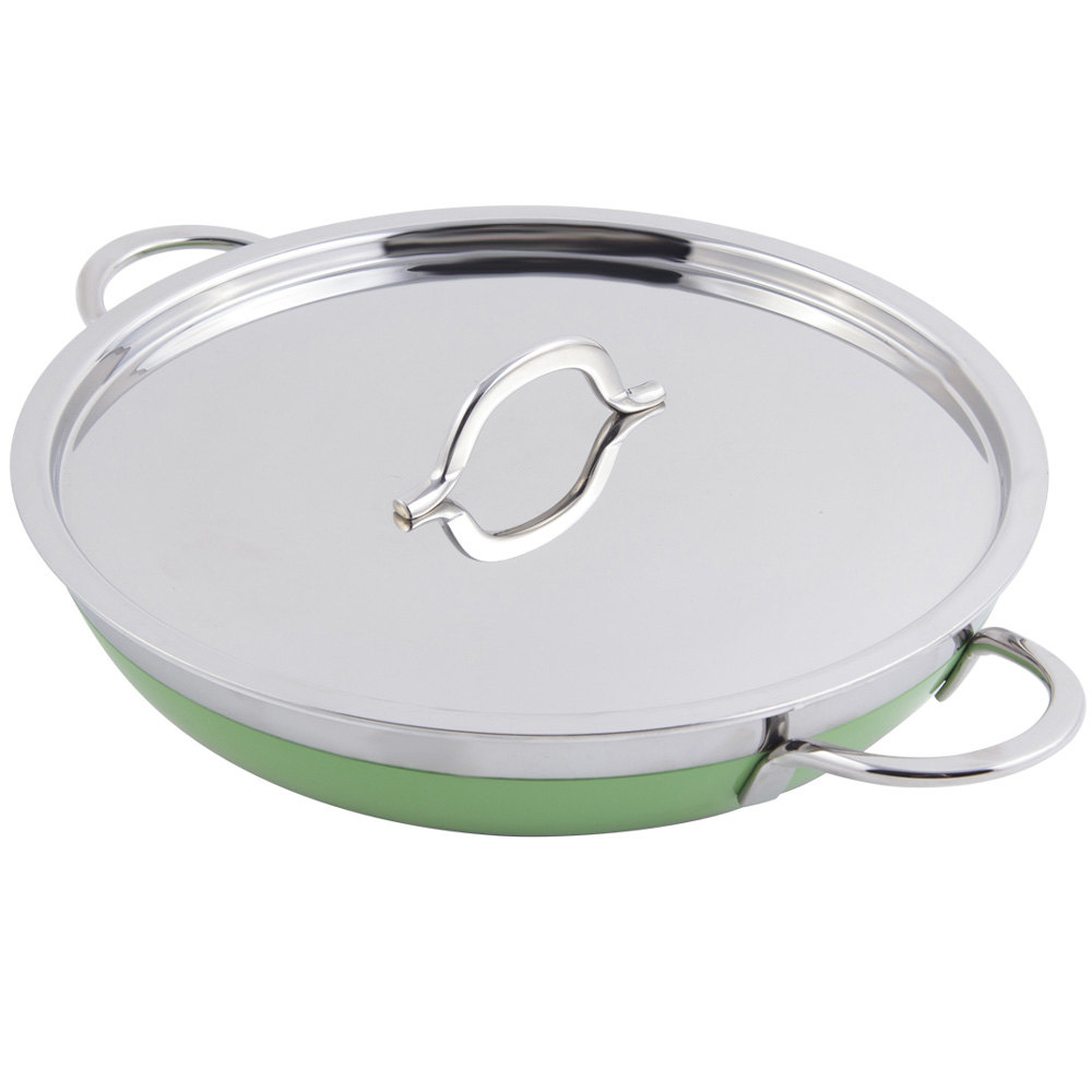Bon Chef 60304 Classic Country French Collection 1 Qt. 20 oz. Green Saute Pan / Skillet with Cover and Double Handles