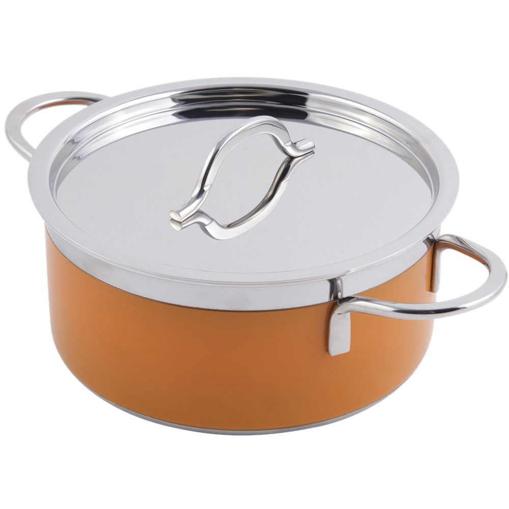Bon Chef 60300 Classic Country French Collection 2.3 Qt. Orange Pot with Cover