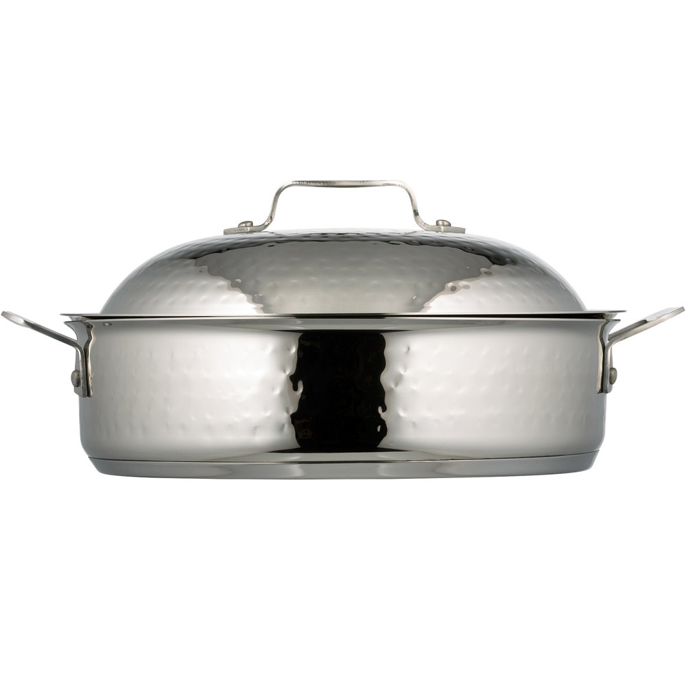 Bon Chef 60001 Cucina 4 Qt. Hammered Finish Stainless Steel Saute Use Pan with Lid