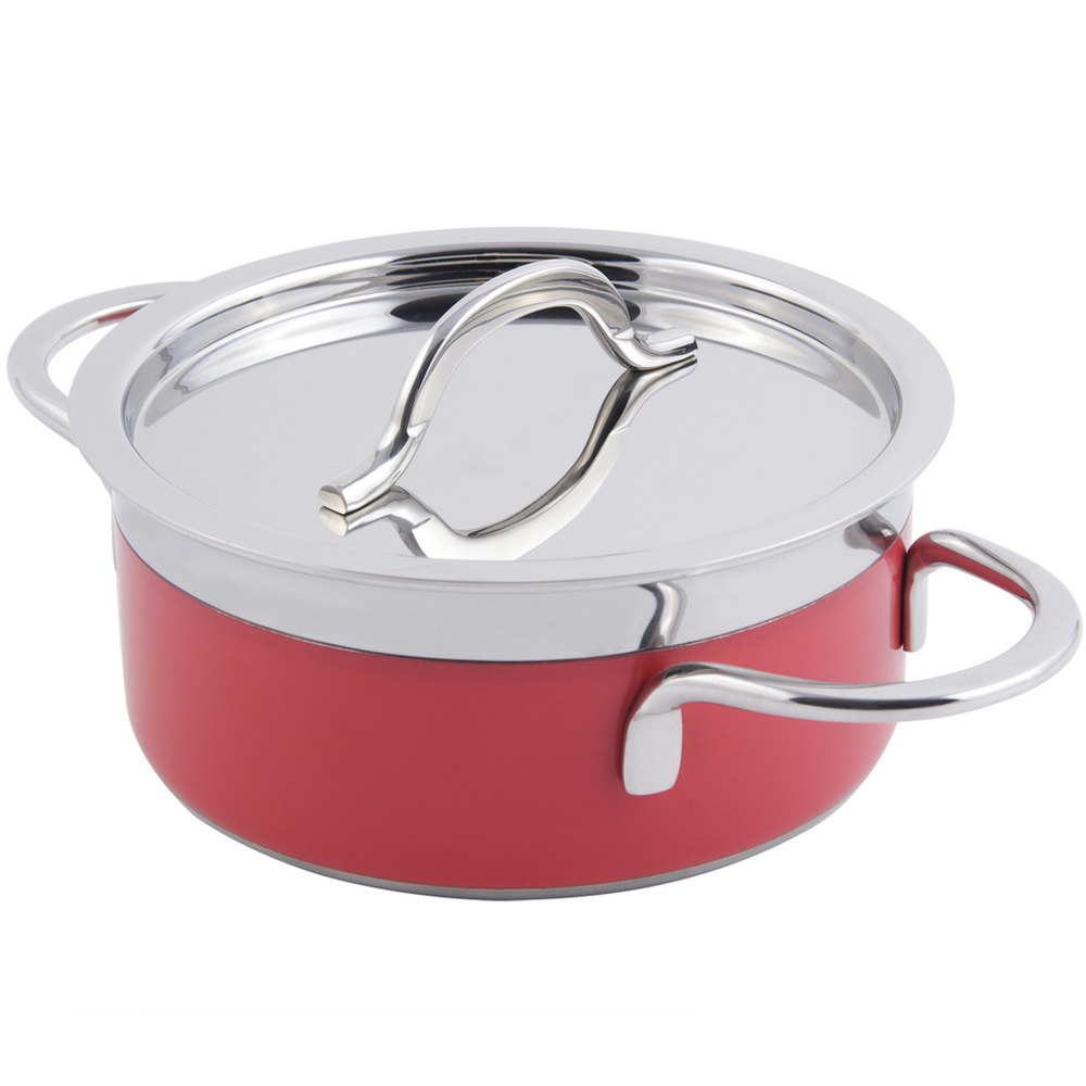Bon Chef 60299 Classic Country French Collection 1.7 Qt. Red Pot with Cover
