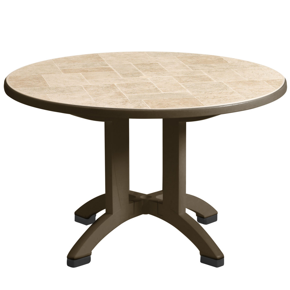Grosfillex us700037 siena 38 round resin folding outdoor table with umbrella hole bronze mist - Garden table with umbrella ...