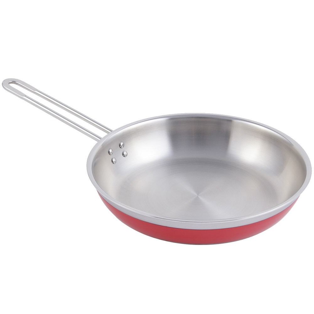 Bon Chef 60308 Classic Country French Collection 2 Qt. 12 oz. Red Saute Pan / Skillet with 1 Long Handle